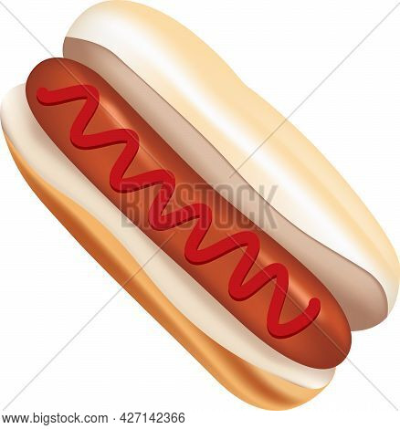 The Classic Hot Dog With Ketchup Is A Standard Sausage Between Two Halves Of A Roll And A Topping Of