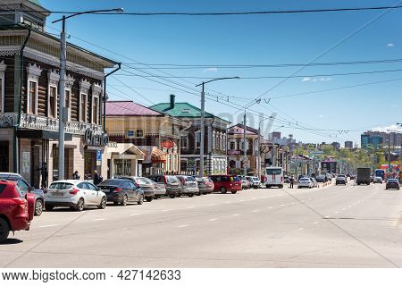 Russia, Irkutsk - May 27, 2021: Street Of 130 Kvartal Quarter Irkutsk Sloboda Is A Specially Created