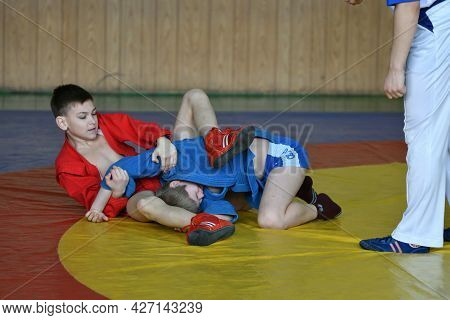 Orenburg, Russia - February 23, 2019: Boy Competitions Sambo