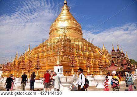 Shwezigon Pagoda Paya Of Burmese Temple For Burma People And Foreign Traveler Travel Visit Respect P