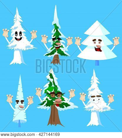 Cartoon Winter Pine Trees With Faces Is Trying To Scare You. Cute Forest Trees. Snow On Pine Cartoon