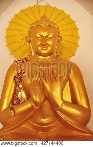 Golden Buddha Image Statue Burma Style In Shwezigon Pagoda Paya Pagoda Chedi Temple For Burmese Peop