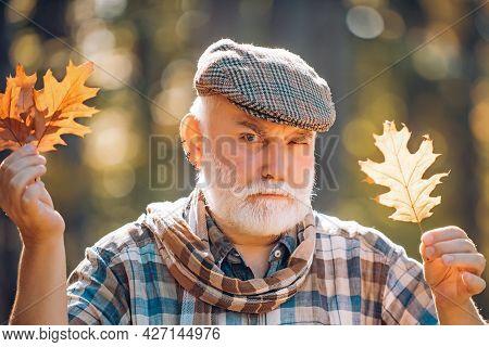 Golden Age Grandfather. Portrait Of A Senior Autumn Man Outdoors. Portrait Of Handsome Old Man. Elde