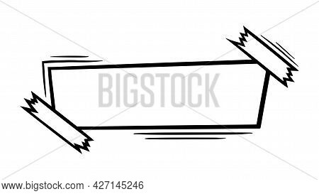 Doodle Paper Sheet With Sticky Tape. Blank Paper Page For Scribbles And Messages. Doodle Vector Illu