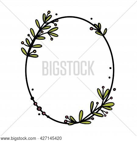 Vintage Wreath Divider With Handdrawn Flowers. Oval Doodle Wreath With Colored Leaves And Flowers. D