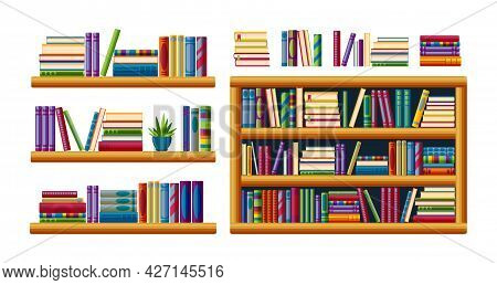 Bookshelves For Home Library. Piles Of Bestsellers With Shelves, Racks And Bookcases. Cartoon Vector