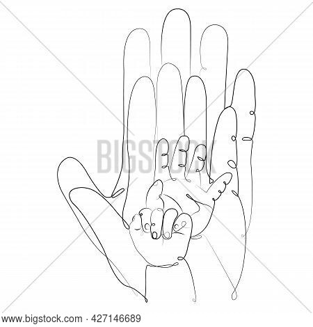 Four Hands In Minimalism Father Mother And Two Children. Family Love And Happiness Concept. Design F