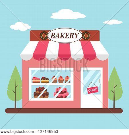 Bakery Shop Building Facade Front View In Flat Design. Sweet Dessert Shop.