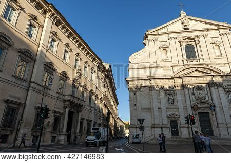 Rome, Italy - October 2019: Front Facade Of Church Of The Gesu Or Church Of The Most Holy Name Of Je