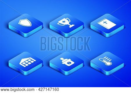 Set Thermometer, Shield, Information Desk, Warehouse, Trophy Cup And Holy Bible Book Icon. Vector