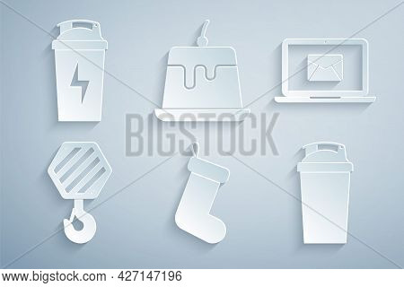 Set Christmas Sock, Laptop With Envelope, Industrial Hook, Fitness Shaker, Pudding Custard And Icon.