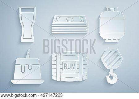 Set Wooden Barrel With Rum, Propane Gas Tank, Pudding Custard, Industrial Hook, Stacks Paper Money C