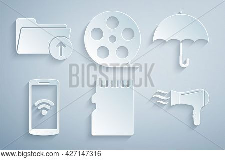 Set Micro Sd Memory Card, Umbrella, Smartphone With Wireless, Hair Dryer, Film Reel And Download Arr