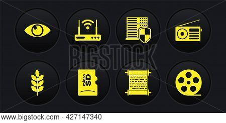 Set Wheat, Radio, Micro Sd Memory Card, Paper Scroll, Server With Shield And Router And Wi-fi Icon.