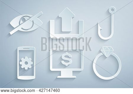Set Monitor With Dollar, Fishing Hook, Setting Smartphone, Diamond Engagement Ring, Upload And Invis