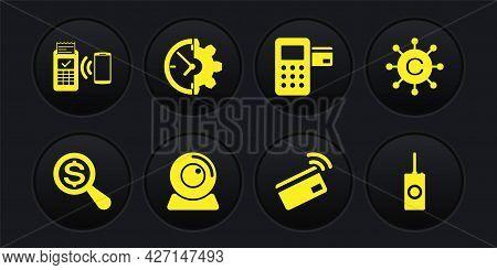Set Magnifying Glass And Dollar, Copywriting Network, Web Camera, Contactless Payment, Pos Terminal
