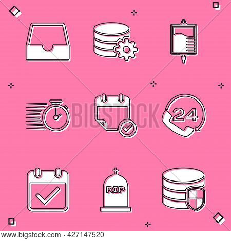 Set Social Media Inbox, Setting Database Server, Iv Bag, Stopwatch, Calendar With Check Mark And Tel