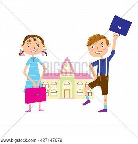Joyful сartoon Boy And Girl On The Way To School. Back To School Vector Illustration.
