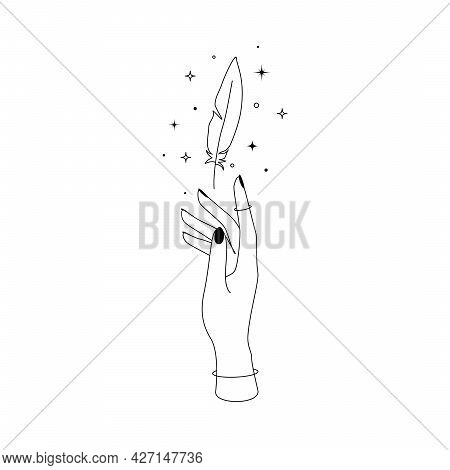 Mystic Celestial Flying Feather With Constellation Stars Over Woman Hand Outline Silhouette. Vector