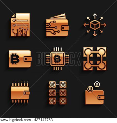 Set Cpu Mining Farm, Mining, Cryptocurrency Wallet, Blockchain Technology, And Icon. Vector
