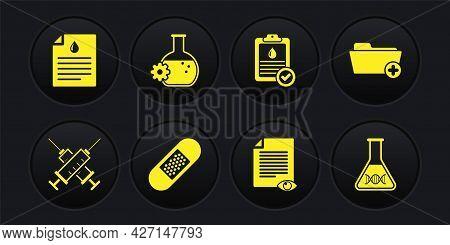 Set Crossed Syringe, Health Record Folder, Bandage Plaster, Paper Page With Eye, Clipboard Blood Tes