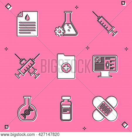Set Clipboard With Blood Test, Bioengineering, Syringe, Crossed Syringe, Clinical Record And On Moni