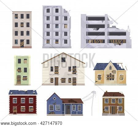 Collection Abandoned And Destroyed Houses Vector Flat Illustration Damaged Dwelling Construction