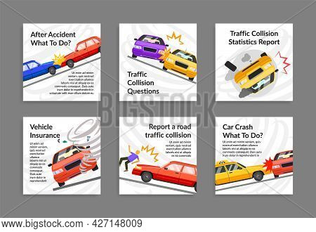 Collection Car Crash Post With Place For Text Vector Illustration Automobile Accident Information