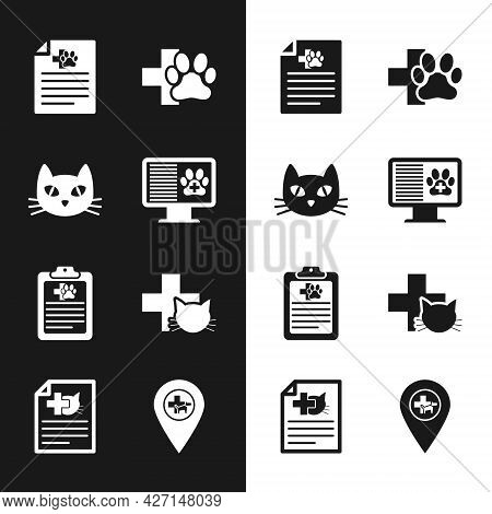 Set Clinical Record Pet On Monitor, Cat, Medical Certificate For Dog Cat, Veterinary Clinic, And Ico
