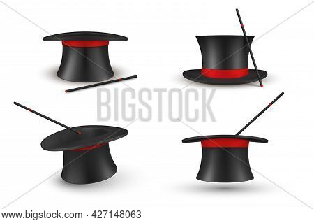 Collection Black Traditional Magician Hat With Magic Wand Vector Realistic Headdress For Surprising