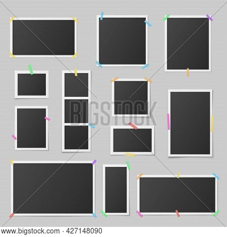 Collection Of Realistic Photo Frames Vector Illustration Different Memory Card Photograph Frames