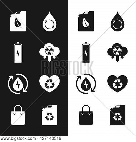 Set Acid Rain And Radioactive Cloud, Battery, Bio Fuel Canister, Recycle Clean Aqua, Eco Friendly He