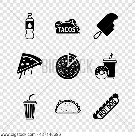 Set Bottle Of Water, Taco With Tortilla, Ice Cream, Glass, Hotdog Sandwich, Slice Pizza And Pizza Ic