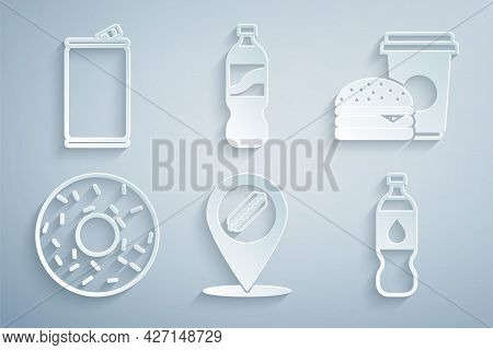 Set Location With Hotdog, Coffee And Burger, Donut, Bottle Water, And Aluminum Can Icon. Vector