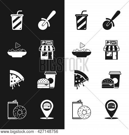Set Pizzeria Building Facade, Nachos Plate, Glass With Water, Pizza Knife, Slice Of Pizza, Coffee An