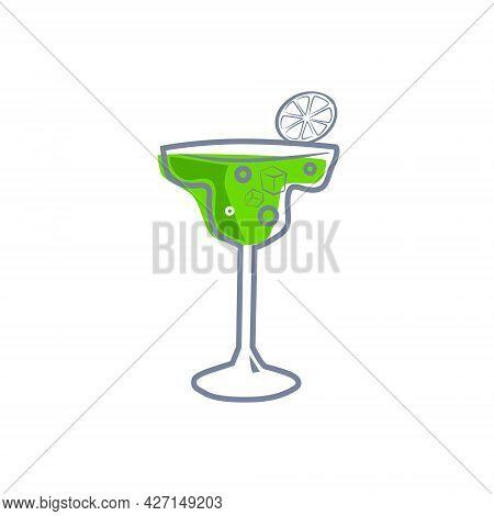 Cocktail Margarita Alcohol Drinks Icon. Summer Beverage, Vector Illustration Cartoon