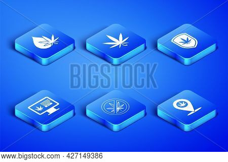 Set Location And Marijuana, Marijuana Or Cannabis Leaf Oil, Stop, Online Buying, And Shield Icon. Ve