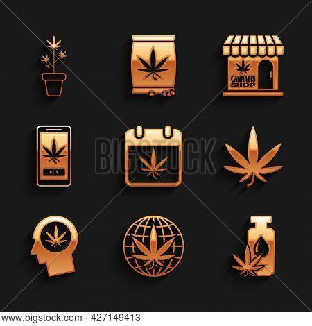 Set Calendar And Marijuana, Legalize, Marijuana Or Cannabis Leaf Oil, Head In Profile With, Online B