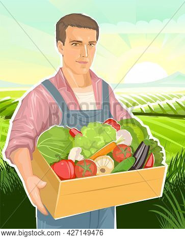 Farmer With A Box Of Vegetables: Onions, Cucumbers, Tomatoes, Peppers, Carrots, Cabbage. Against The