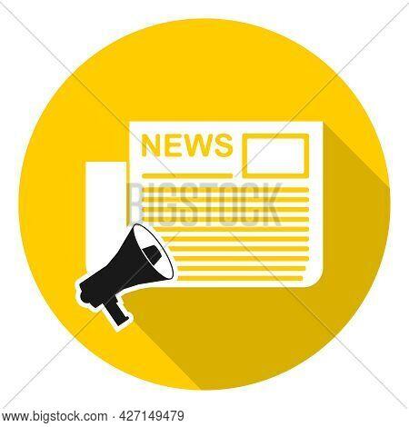 News Newspaper, Loudspeaker News Newspaper Icon. Vector Illustration. Vector.