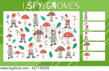 I Spy Game. Childrens Educational Fun. Count How Many Gnomes. Flat Hand Drawn Mushroom, Strawberry,