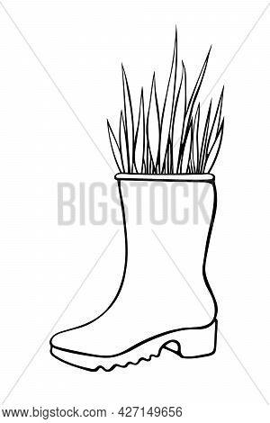 Vector Outline Rubber Rain Boots With Decorative Grass, Plant. Cute Seasonal Spring Floral Illustrat