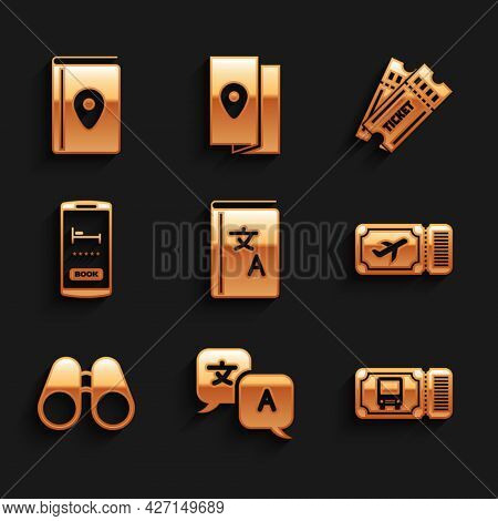 Set Translator Book, Bus Ticket, Airline, Binoculars, Online Hotel Booking, Ticket And Cover Travel