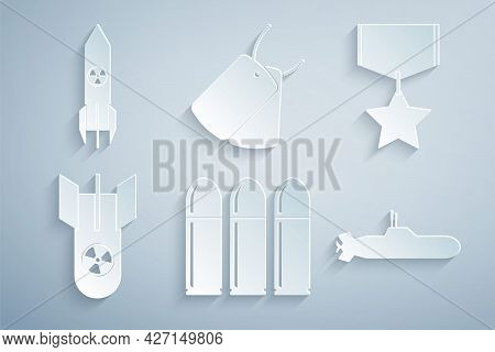 Set Bullet, Military Reward Medal, Nuclear Bomb, Submarine, Dog Tags And Rocket Icon. Vector