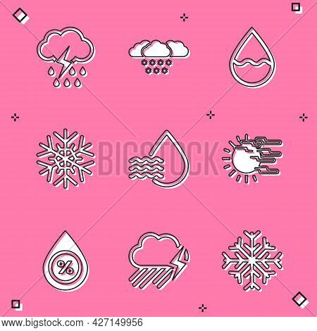Set Cloud With Rain And Lightning, Snow, Water Drop, Snowflake, Percentage And Fog Sun Icon. Vector