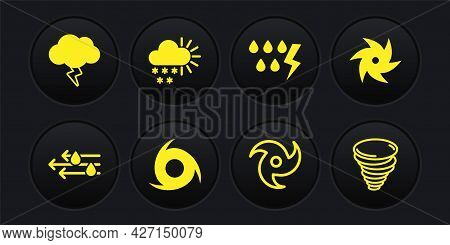 Set Wind And Rain, Tornado, Storm, Cloudy With Snow, And Icon. Vector