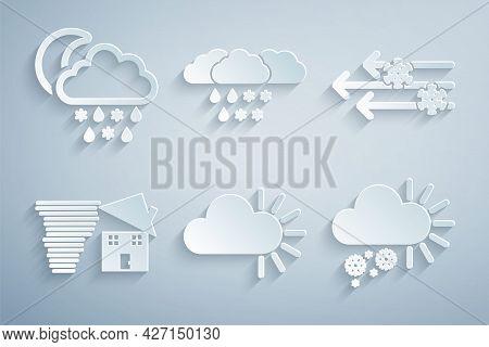 Set Cloudy, Wind And Snow, Tornado Swirl, With, Rain And Rain, Moon Icon. Vector