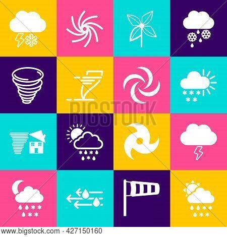 Set Cloud With Snow, Rain, Sun, Storm, Cloudy, Pinwheel, Tornado, And Lightning And Icon. Vector
