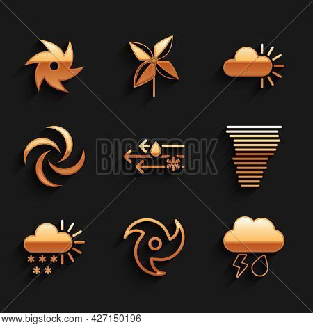 Set Wind And Rain With Snow, Tornado, Cloud Lightning, Cloudy, And Icon. Vector