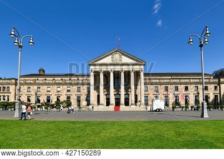 Wiesbaden, Germany - July 2021: Main Entrance Of Convention Center Called \'kurhaus\'